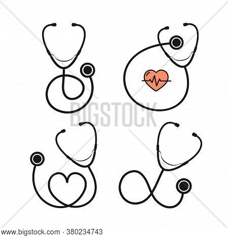 Cartoon Silhouette Black Stethoscope With Heart Set On A White Check Heartbeat Concept. Vector Illus