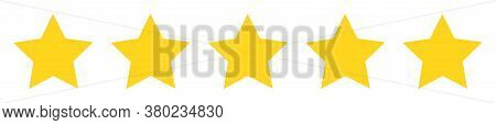 Five 5 Stars Rate Line Flat Style. Quality Rank Service Symbol On White Background