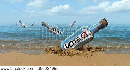 Mail In Vote Concept And Absentee Voting Or Absent Voter Casting A Ballot By Mailing A Political Cho