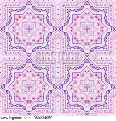 Simple Moroccan Zellige Tile Seamless Rapport. Ethnic Geometric Vector Motif. Rug Print Design. Styl