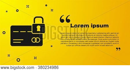 Black Credit Card With Lock Icon Isolated On Yellow Background. Locked Bank Card. Security, Safety,