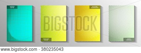 Creative Dot Screen Tone Gradation Front Page Templates Vector Series. Industrial Catalog Faded Scre