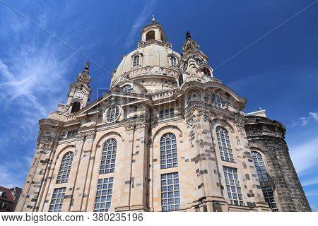 Dresden Frauenkirche Church. Religious Landmark Of Dresden, Germany.