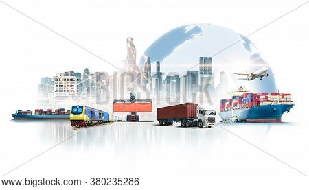 Global Business Logistics Import Export On White Background And Container Cargo Freight Ship Transpo