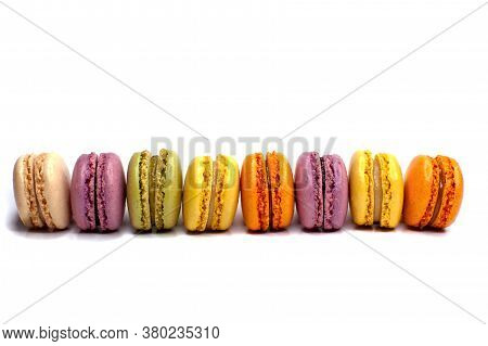 Macaroons Isolated On The White Background.homemade French Style Colorful Macaroons (intentional Sel