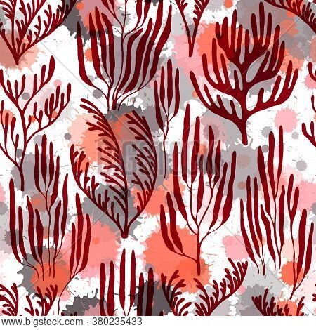 Ocean Corals Seamless Pattern. Paint Splashes Drops Watercolor Background. Ocean Bottom Summer Patte