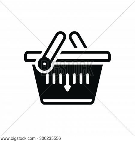 Black Solid Icon For Shopping-basket Merchandise Basket Buying Commerce Grocery Trolly Purchase Stor