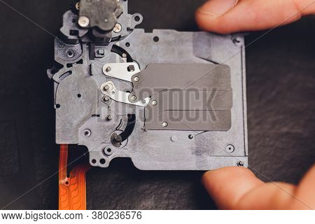 Camera Shutter Part. Electronic Shutter Device Component Of Electronic Photo Camera.