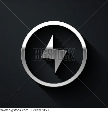 Silver Lightning Bolt Icon Isolated On Black Background. Flash Sign. Charge Flash Icon. Thunder Bolt