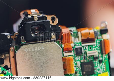 Engineer And Technician Minitures Are Fixing Camera Mirror Box Assembly , Miniture Workers Are Check