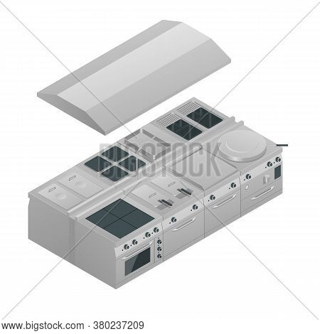 Isometric Modern Industrial Kitchen. Professional Shiny Kitchen With Stainless Still Kitchenware And