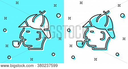 Black Line Sherlock Holmes With Smoking Pipe Icon Isolated On Green And White Background. Detective.