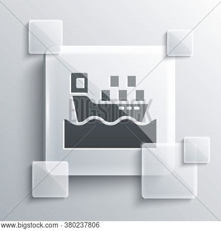 Grey Cargo Ship With Boxes Delivery Service Icon Isolated On Grey Background. Delivery, Transportati