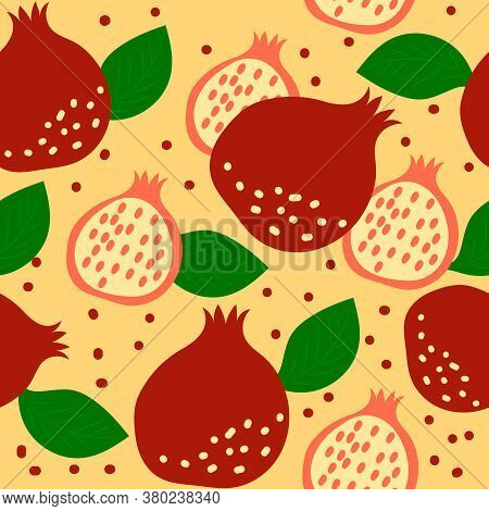 Seamless Pattern With Pomegranate Fruits And Leaves On Yellow Background. Vector Cartoon Illustratio