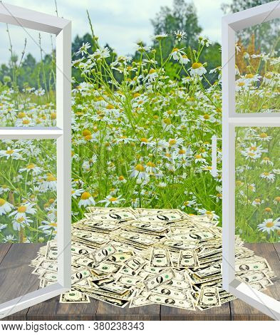 Pile Of Dollars Lies At Open Window Overlooking Camomile Field. Dollar Bills By The Window With Summ