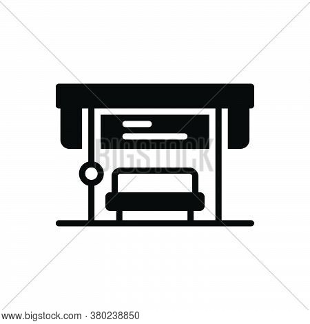Black Solid Icon For Bus-stop Bus Stop Departure Arrival Passenger Transport Transportation Stop-edg