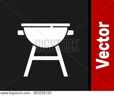 White Barbecue Grill Icon Isolated On Black Background. Bbq Grill Party. Vector
