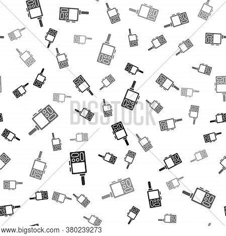 Black Walkie Talkie Icon Isolated Seamless Pattern On White Background. Portable Radio Transmitter I