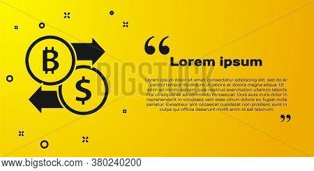 Black Cryptocurrency Exchange Icon Isolated On Yellow Background. Bitcoin To Dollar Exchange Icon. C
