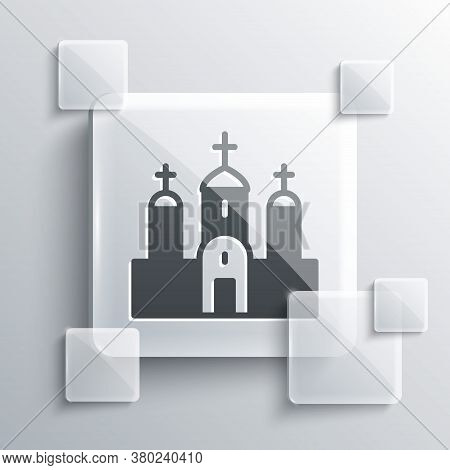 Grey Church Building Icon Isolated On Grey Background. Christian Church. Religion Of Church. Square