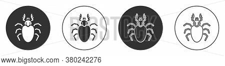 Black Beetle Deer Icon Isolated On White Background. Horned Beetle. Big Insect. Circle Button. Vecto