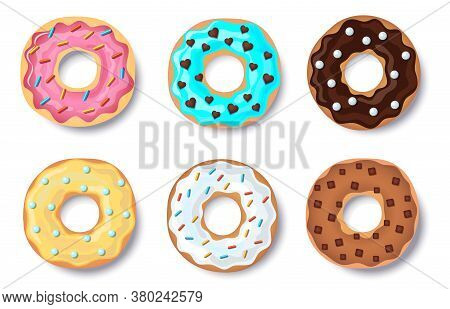 Donut Vector Set, Doughnut Collection Of Colorful Doughnut Cakes, With Caramel And Chocolate Topping