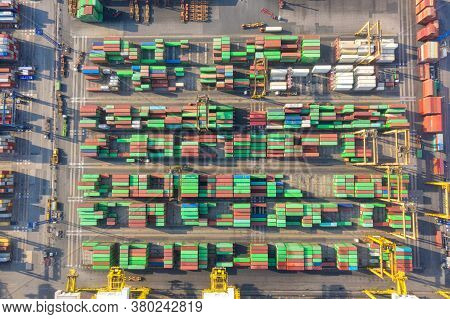 Container , Container Ship In Export And Import Business And Logistics. Shipping Cargo To Harbor By