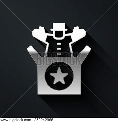Silver Jack In The Box Toy Icon Isolated On Black Background. Jester Out Of The Box. Long Shadow Sty