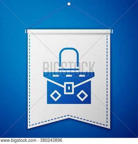 Blue Handbag Icon Isolated On Blue Background. Female Handbag Sign. Glamour Casual Baggage Symbol. W
