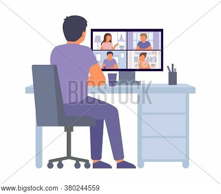 Group Video Conference. Man Back View Having Video Call Online Meeting, Chat At Home. People On Comp