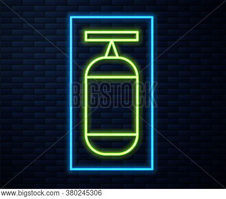 Glowing Neon Line Punching Bag Icon Isolated On Brick Wall Background. Vector Illustration