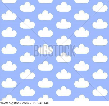 Vector Seamless Pattern Of White Hand Drawn Doodle Sketch Cloud Isolated On Blue Background