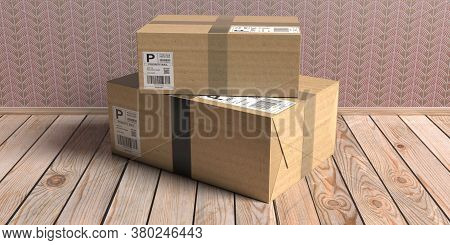 Parcels With Label Sticker Closed And Sealed On Wooden Floor Background, 3D Illustration