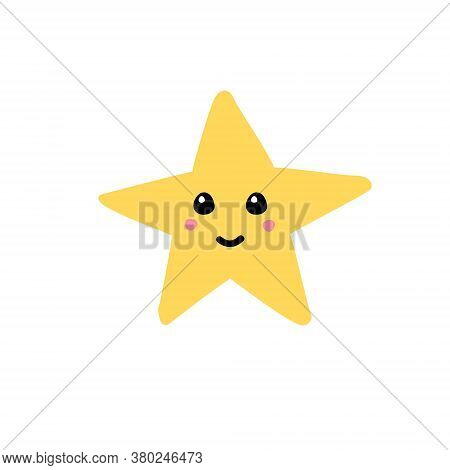Vector Hand Drawn Doodle Sketch Yellow Star With Face Isolated On White Background