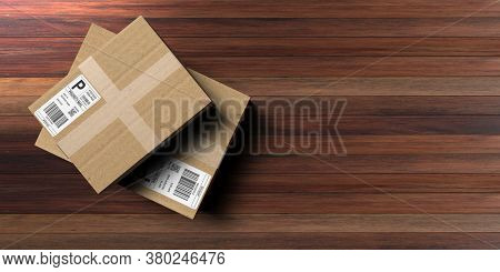 Parcels With Label Sticker Closed And Sealed On Wooden Background, 3D Illustration