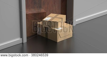 Parcels Delivered, Doorstep Delivery Concept. 3D Illustration