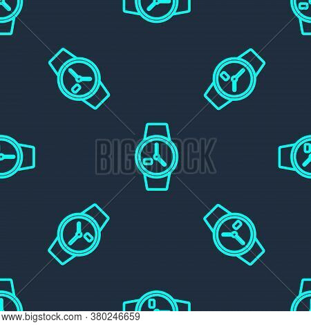 Green Line Wrist Watch Icon Isolated Seamless Pattern On Blue Background. Wristwatch Icon. Vector Il