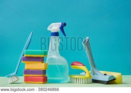 Cleaning Materials. Housekeeping. Cleaning. Detergent Nozzle Colourful Sponge. Brush With Handle On