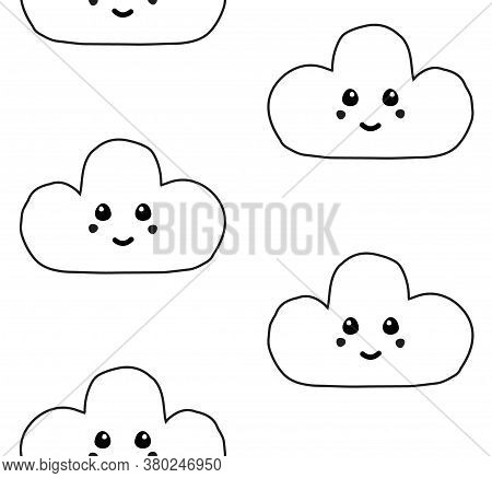 Vector Seamless Pattern Of Hand Drawn Doodle Sketch Cloud With Face Isolated On White Background