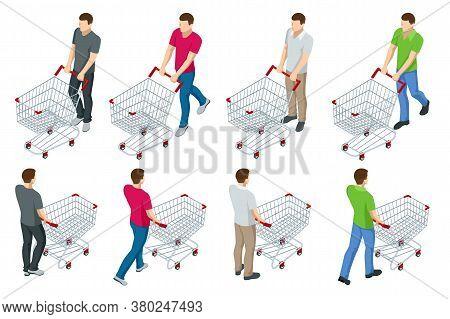 Shopping Cart Full Of Food. Man Pushing Supermarket Shopping Cart Full Of Groceries. Isometric Illus