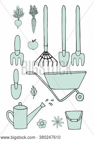 Vector Set Bundle Of Hand Drawn Doodle Sketch Mint Gardening Equipment Isolated On White Background