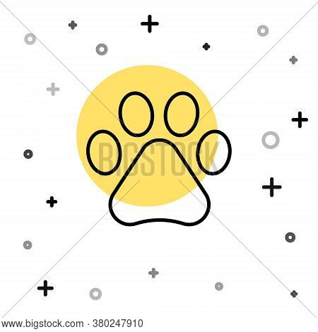 Black Line Paw Print Icon Isolated On White Background. Dog Or Cat Paw Print. Animal Track. Random D