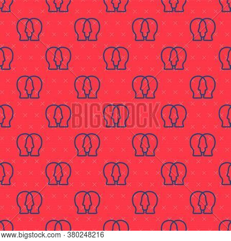 Blue Line Project Team Base Icon Isolated Seamless Pattern On Red Background. Business Analysis And