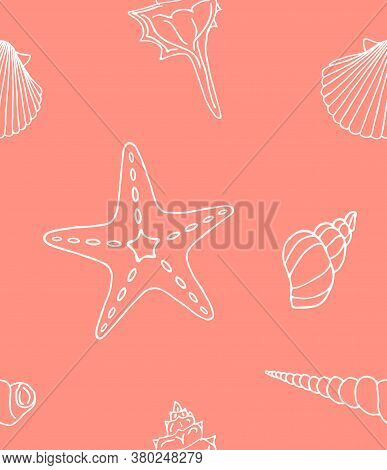 Vector Seamless Pattern Of White Hand Drawn Doodle Sketch Shell And Sea Stars Isolated On Coral Pink