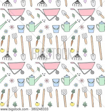 Vector Seamless Pattern Of Pastel Colored Hand Drawn Doodle Sketch Gardening Equipment Isolated On W