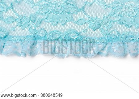 Blue Lace Texture With Flowers. Background Of Blue Lace With A Floral Pattern. Blue Guipure