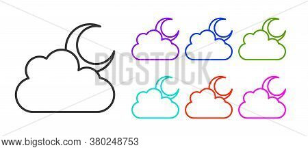 Black Line Cloud With Moon Icon Isolated On White Background. Cloudy Night Sign. Sleep Dreams Symbol