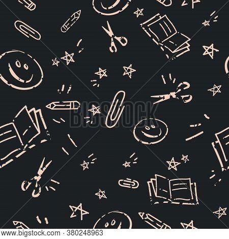 Back To School Chalk Blackboard Doodles Pattern