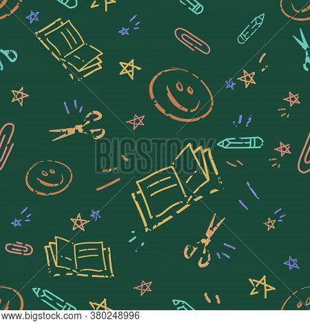 Back To School Doodles On Blackboard Pattern