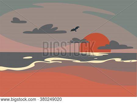 Beautiful Purple Morning Beach Sunrise With Bird